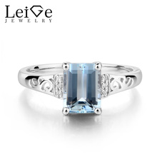 Leige Jewelry Real Natural Aquamarine Ring Wedding Rings Emerald Cut Solid 925 Sterling Silver Blue Gemstone March Birthstone