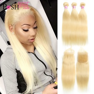 613 Honey Blonde 8 - 30 Inch Brazilian Remy Straight Hair 3 4 Bundle with Free Middle Part Swiss Lace Closure 4x4 Free Shipping(China)