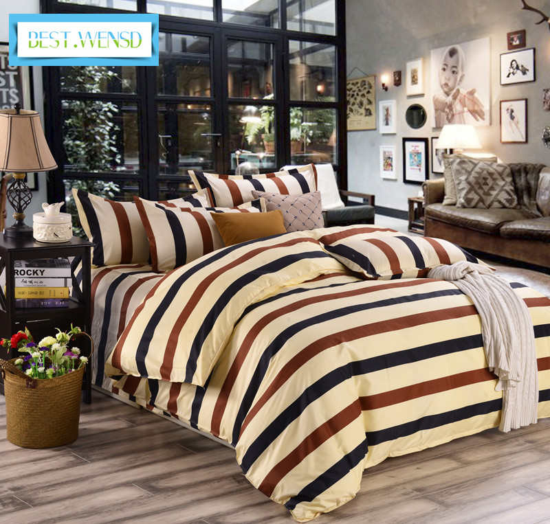 BEST WENSD New Simple stripe bedclothe Soft comfortable quilt cover sheet bed linen pillowcases Home textiles