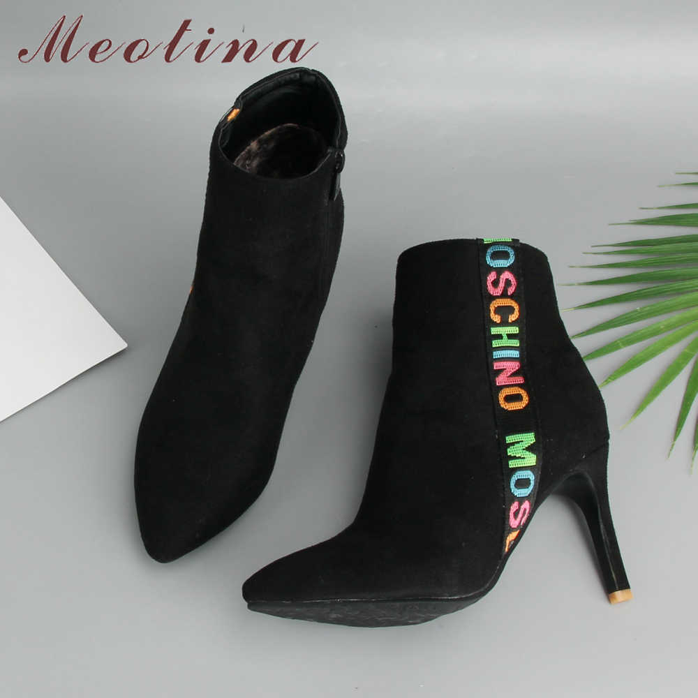 Meotina 2018 Kış Çizmeler Kadın yarım çizmeler Ince Yüksek Topuk Çizmeler Sivri Burun Kısa Moda Fermuarlı Bayan Ayakkabı Kırmızı Büyük Boy 45 46