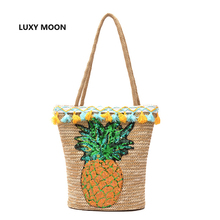 Summer Tassel Straw Handbags for Women Sequin Pineapple Beach Bag Boho Woven Shoulder Bags Basket Party Market Shopping Tote A9