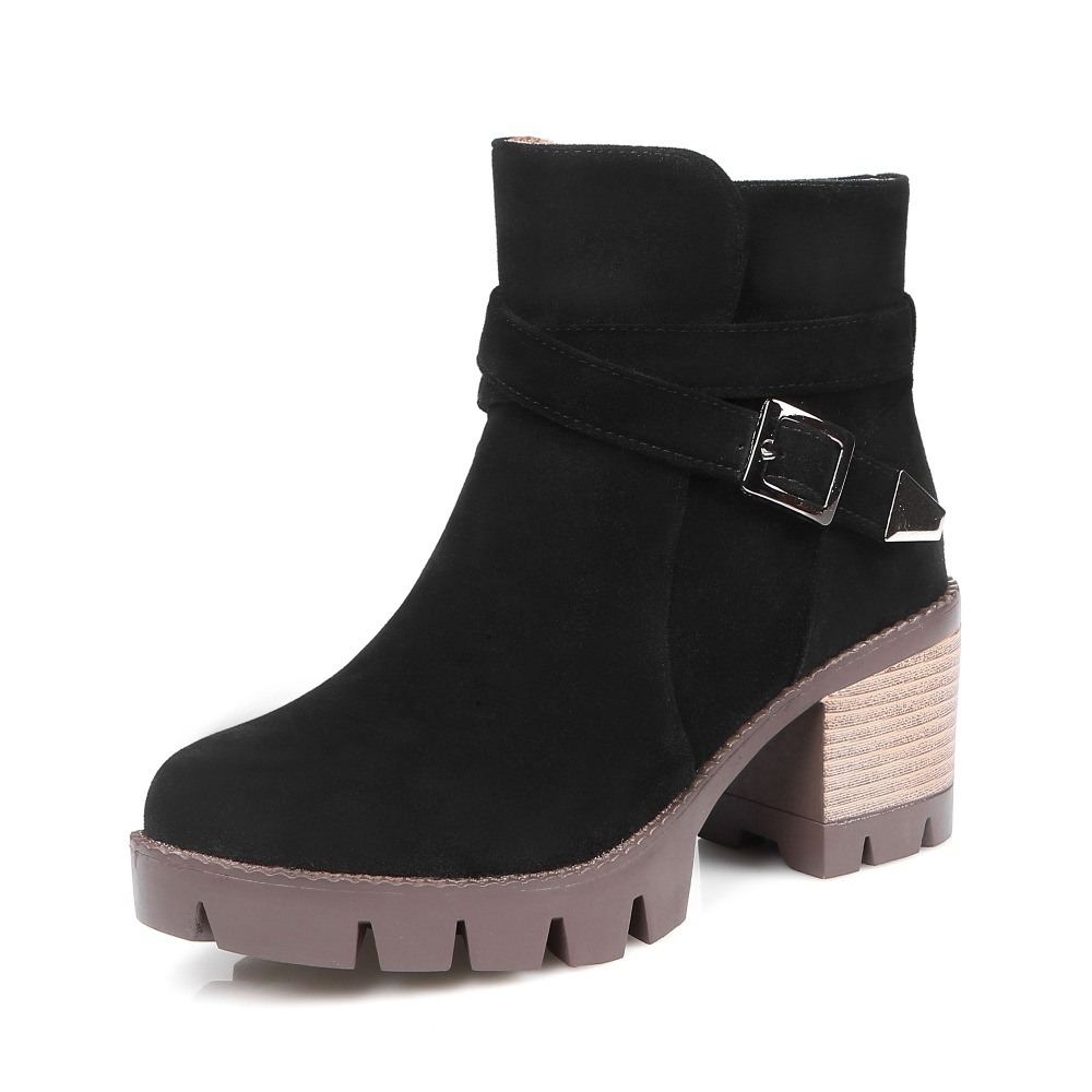 ФОТО Fashion Buckle metal decration Martin boots British style Square heel women boots  solid Round Toe Ankle boots big size 34-43