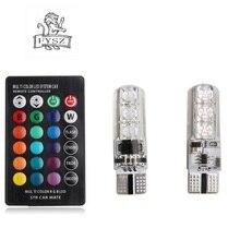 цены FYSZ T10 RGB Led W5W 194 501 168 Car Bulbs With Remote Control RGB Lamp Reading