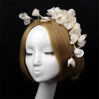 Beige White Bride Lace Hairgrips Floral Pearl Linen Hair Clip For Women Wedding Hats And Fascinator