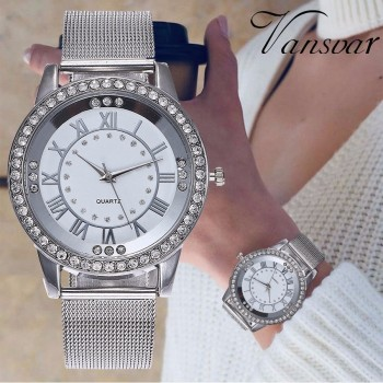 Dropshipping Women Rhinestone Watch Fashion Casual Women Silver & Rose Gold Mesh Wristwatches Gift Clock Relogio Feminino Hot