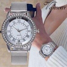 Dropshipping נשים ריינסטון שעון אופנה מזדמן נשים כסף & רוז זהב רשת שעוני יד מתנת שעון Relogio Feminino חם