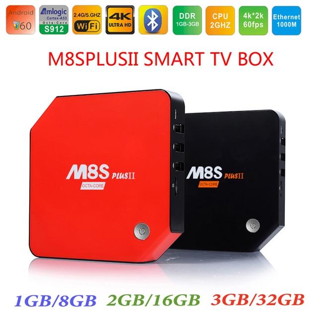 3 GB de RAM 32 GB M8S Plus II Amlogic S912 Octa Core Android 6.0 TV caja de 2.4/5G Wifi Kodi 17.0 4 K H.265 BT4.0 1000 M LAN + i8 Retroiluminado