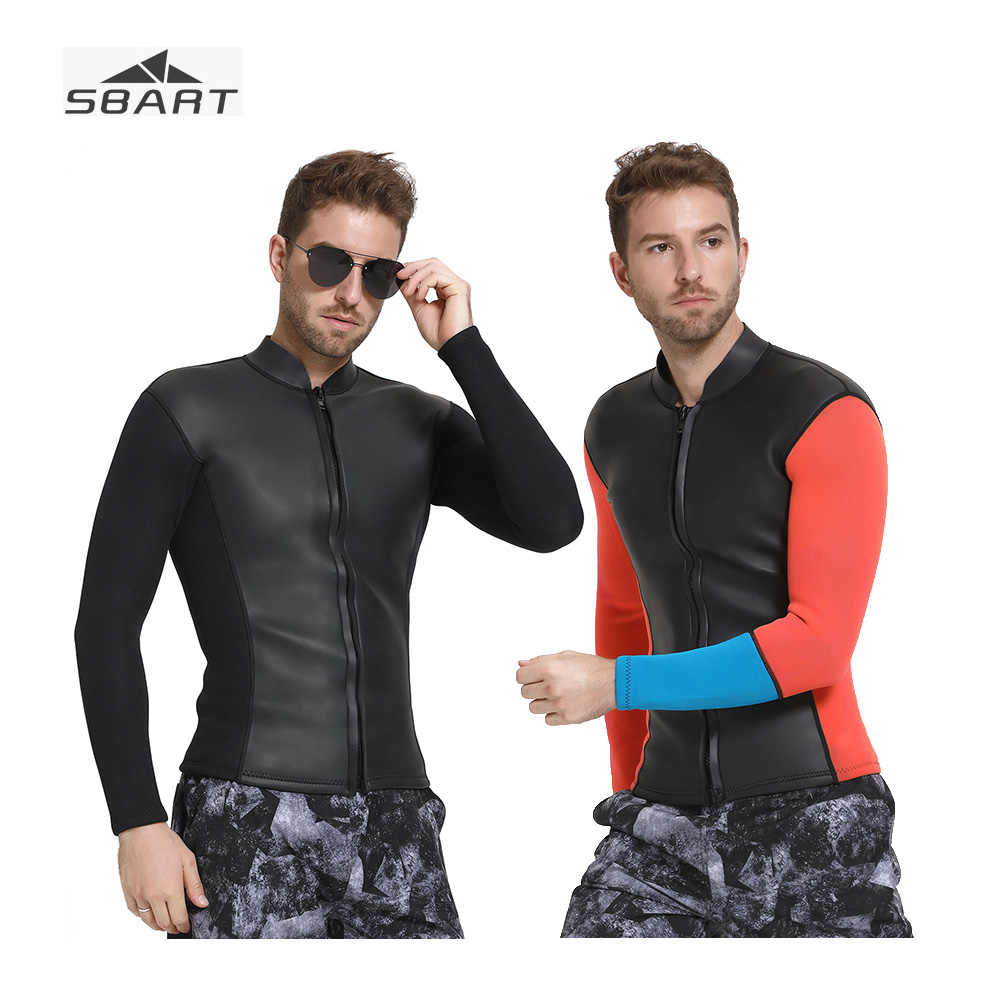 f66751a5c2 SBART 2019 New Black Smooth Skin Surface Wetsuit Jacket Red Long Sleeve  Thicken Keep Warm Neoprene Winter Swimming Dive Suit