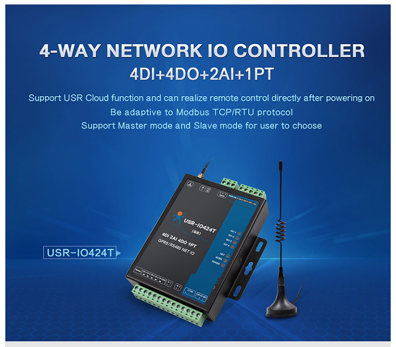 USR-IO424T-GR 4 Channel GPRS GSM Network IO Controller 4 Way Temperature  Detection Modbus TCP/RTU Supports 4 DI/4 DO/2AI/1PT