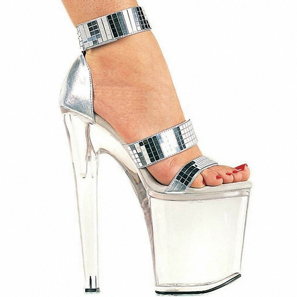 8 inch lady fashion high heel shoes sexy Crystal Dance shoes sandals Gorgeous silver glitter 20CM high heel Shoes 2016 8 inch platform crystal shoes silver bridal party shoes 20cm sexy ultra high heels sandals clear lady fashion dance shoes