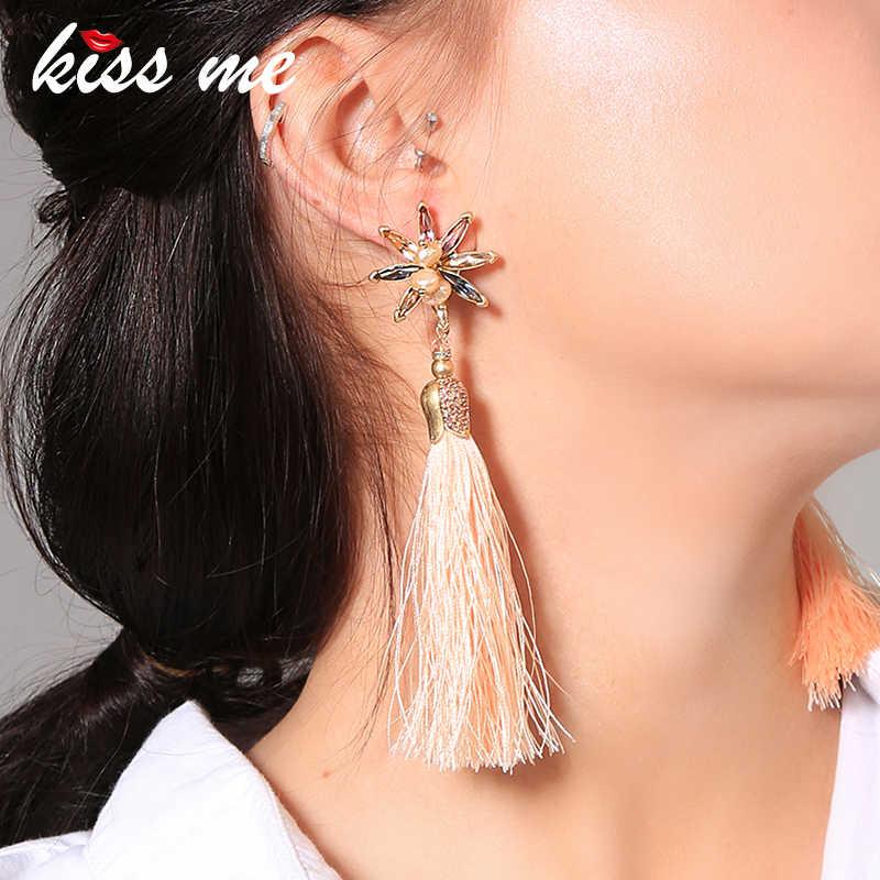 キス私新長期ピンクロープタッセルブラブライヤリングシックなクリスタル養殖真珠の花のイヤリング女性のファッションジュエリー