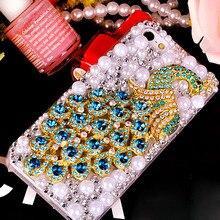 Модная одежда для девочек женские Жемчуг Павлин телефона чехол для Samsung Galaxy J5 J7 S3 S4 S5 S6 S7 край S8 плюс A5 A7 A9 2017 алмазов случае