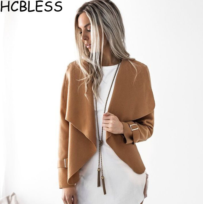 HCBLESS Summer 2018 women Fashion New suede   jacket   short paragraph Lapel woolen Slim   basic     Jacket   coats female   Jackets   Womens