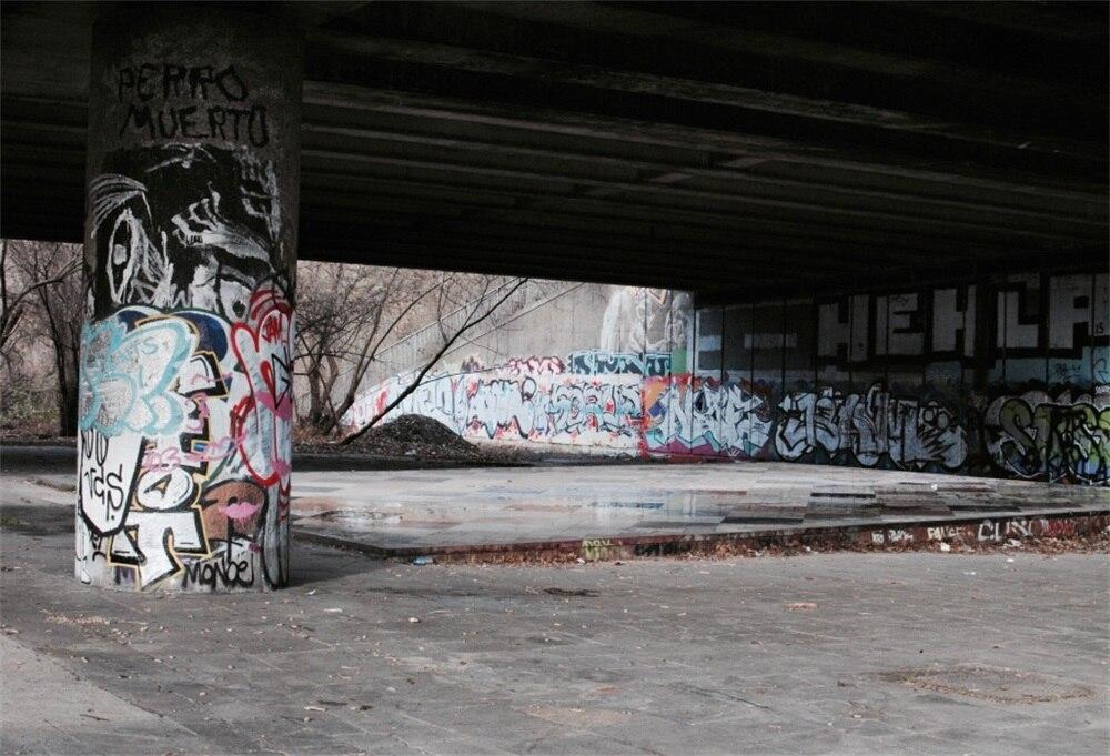 Laeacco граффити под мостом Pier темно-живописный Фотографическая Фоны Индивидуальные фотографии фонов для Аксессуары для фотостудий