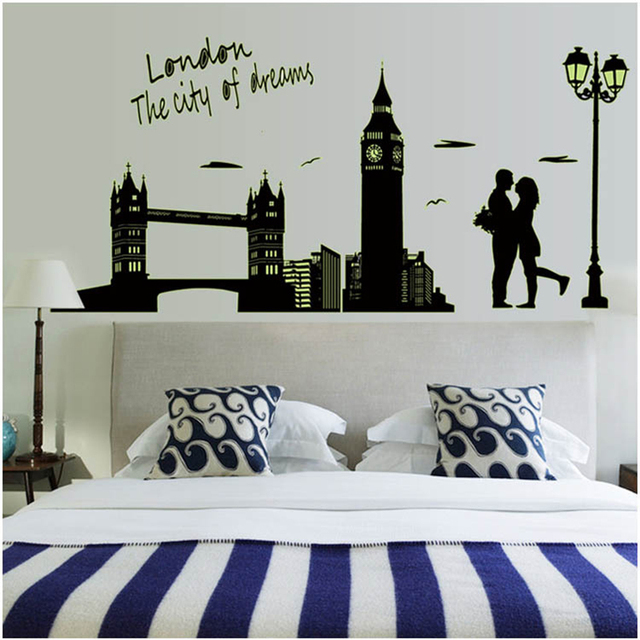 Glow in dark adesivi Fluorescente London Tower wall stickers per ...