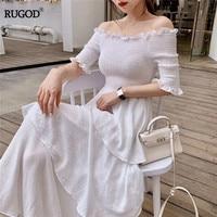 RUGOD Elegant elastic slash neck women dress off shoulder summer dress layer pleated vintage solid modis femme vestido verano