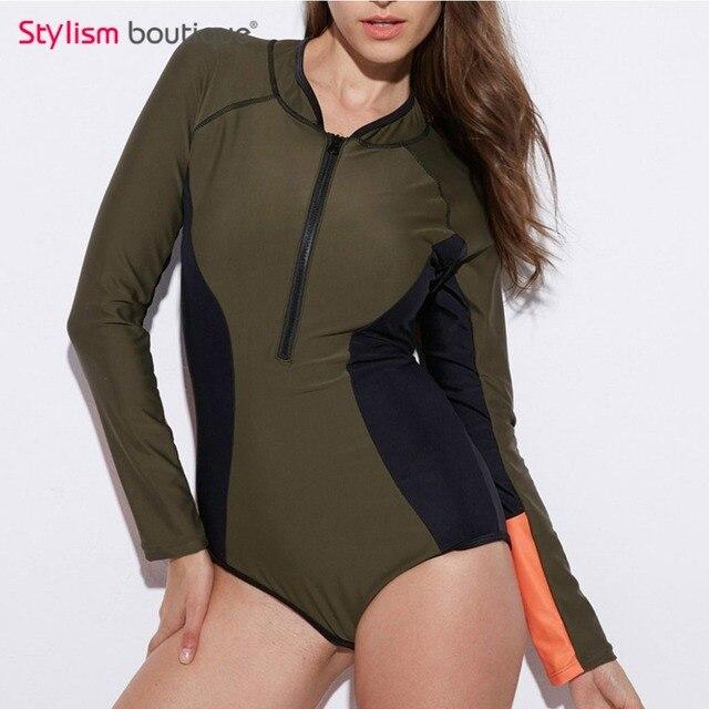 b1e79b7591281 2018 Long Sleeves Rash Guard Women Surf Swimwear Women Patchwork One Piece  Swimsuit Zip Front Rashguard Wetsuit Bathing Suit
