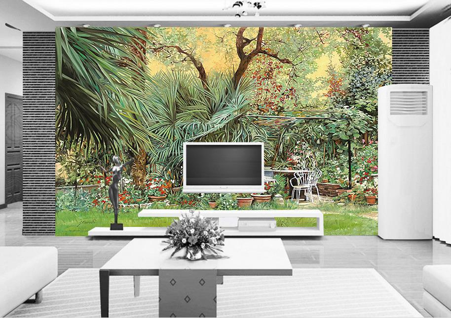 Customize 3d Wall Murals Wallpaper Garden Green Trees 3d Living Room Luxury  Wallpaper Photo Wall Murals