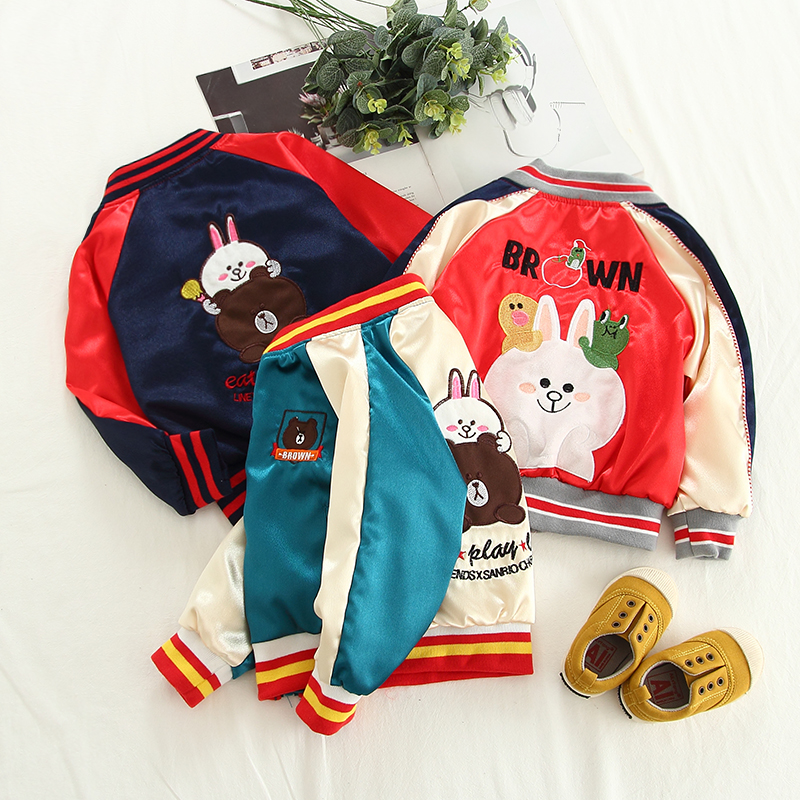 Ins boys and girls coat 1-5 years old tri-color stitching contrast color long-sleeve thread round neck baseball uniform jacketIns boys and girls coat 1-5 years old tri-color stitching contrast color long-sleeve thread round neck baseball uniform jacket