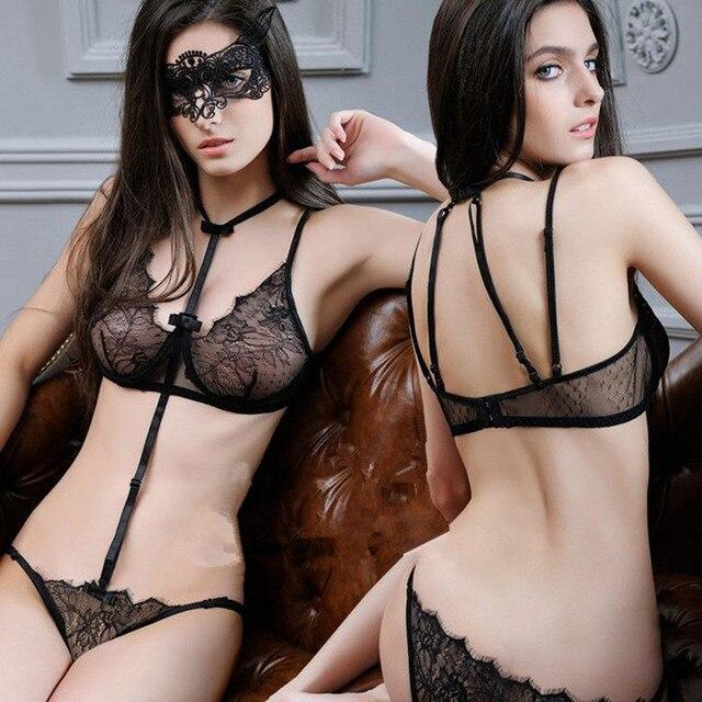 Encaje Moda Sujetadores Y Bragas Mujeres Hot íntimos Ropa Interior Sexy  Negro/púrpura/Rojo