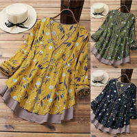 Women Print Tops Retro V-Neck Long Sleeve Casual Loose Baggy Tunic Tops Shirts Plus Size