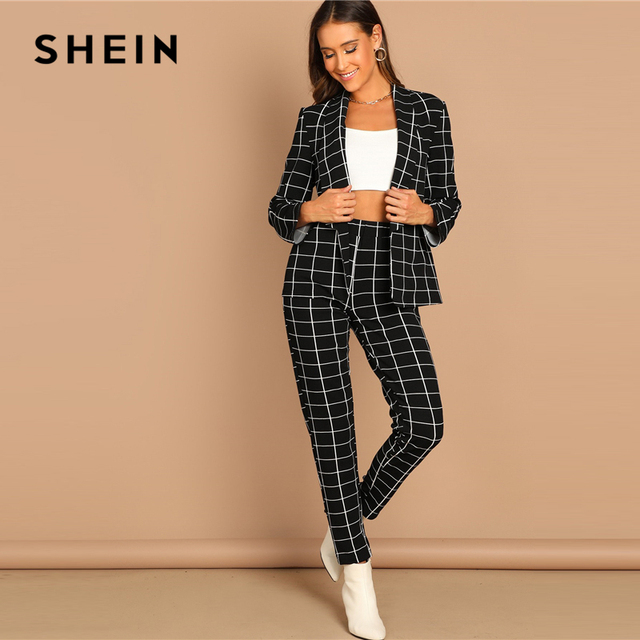 SHEIN Black Blazer / Pants Set