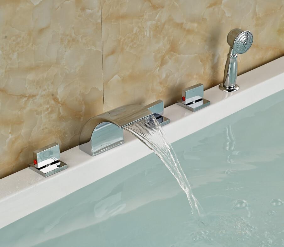 Chrome Brass Roman Waterfall Bathroom Tub Faucet W/ Hand Sprayer Deck Mounted Sink Faucet waterfall spout single lever bathroom tub faucet with hand sprayer deck mounted chrome brass