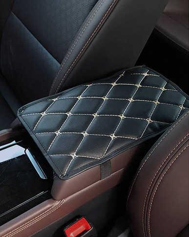 Leer Auto Armsteun Pad Covers Universele Center Console Auto Seat Armleuningen Doos Pads Zwart Armsteun Opslag Bescherming Kussen A01