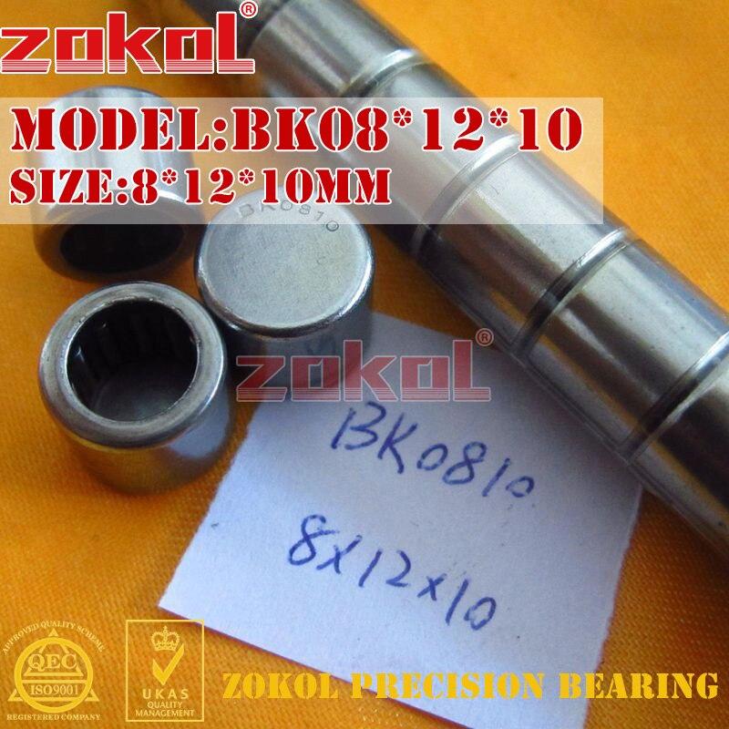 ZOKOL bearing BK08*12*10 BK0810 Sealing mouth drawn cup needle roller bearing 8*12*10mm na4910 heavy duty needle roller bearing entity needle bearing with inner ring 4524910 size 50 72 22