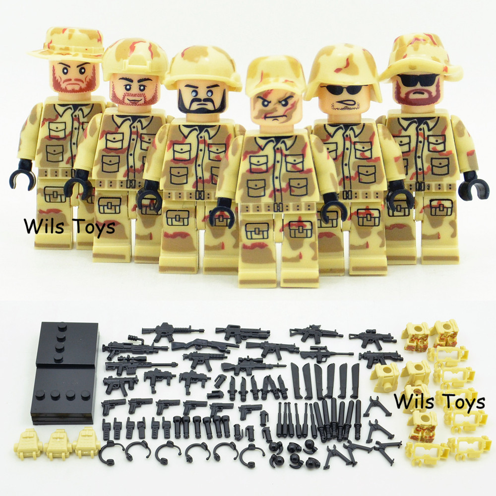 6pcs World War Military SWAT Soldier Army Weapon Gun Special Forces navy seals Building Blocks Figures Boys Toys Children Gifts