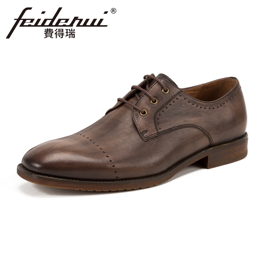 Luxury Genuine Leather Men's Handmade Footwear Fashion Round Toe Derby Man Office Flats Formal Dress Wedding Brogue Shoes KUD142 men luxury crocodile style genuine leather shoes casual business office wedding dress point toe handmade brogue footwear oxfords page 2 page 5 page 5 page 3