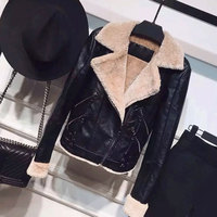 Fitaylor Faux Pu Leather Lambs Wool Jacket Coats Women Warm Winter Thick Faux Lamb Leather Jacket Female Punk Bomber Outerwear