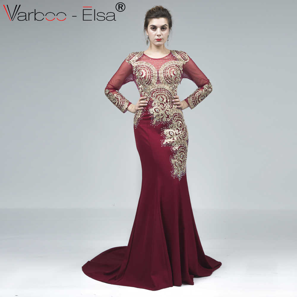 VARBOO_ELSA Elegant Long Sleeve Appliques Evening Dress 2018 Red Mermaid Long Prom Dress Robe De Soiree Sexy Illusion Party Gown