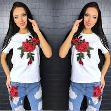 NiceMix Summer 2019 New Brand Fashion T Shirt For Women Clothing Embroidery O-Neck Harajuku Tops Tshirt Cotton Tee