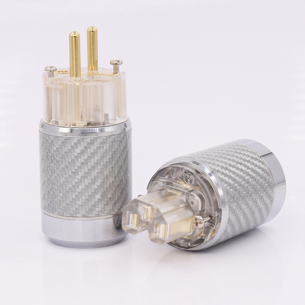 Hi-End Carbon Fiber Gold Plated European standard AC Power Plug IEC Female Plug mpsource tena hi end 99 99997
