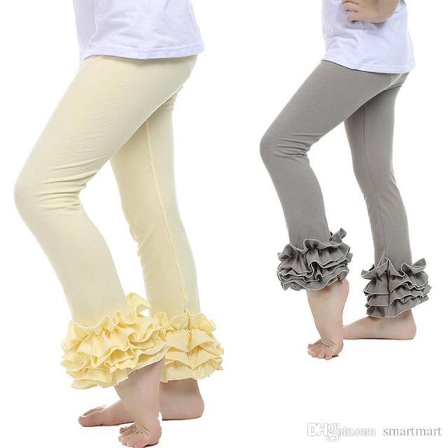 Estilo caliente Niños Niñas Wholelsale Volantes Elásticos de La Cintura Pantalones de Color Caramelo Lindo Niños Calientes Pantalones Pitillo