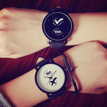 Fashion YES and NO Lovers Watches Womens Mens Quartz Wristwa