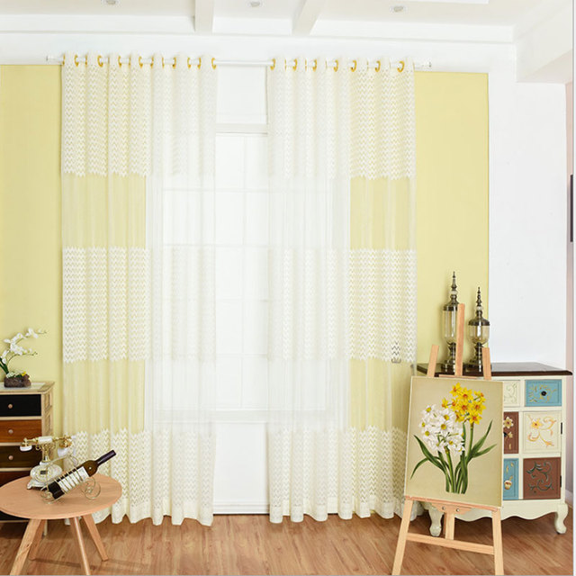 Wave Striped Voile Curtains Sheer Window Warp Screen Yarn Panel Modern  Simple Living Room Balcony Kitchen Curtains Tulle -in Curtains from Home &  ...