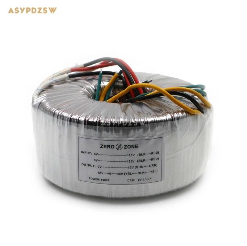 AC 115V/230V 500VA OFC Pure copper toroidal transformer 500W L20D transformer AC 48V-0-48V+12V Accept custom voltage 500va toroidal transformer match for mj2001 a50m and iraud350 amp board