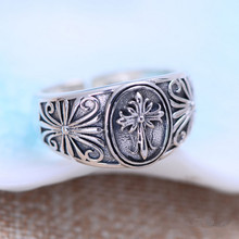 925 sterling silver jewelry personality Crusader flower male open ring jewelry jewelry free shipping