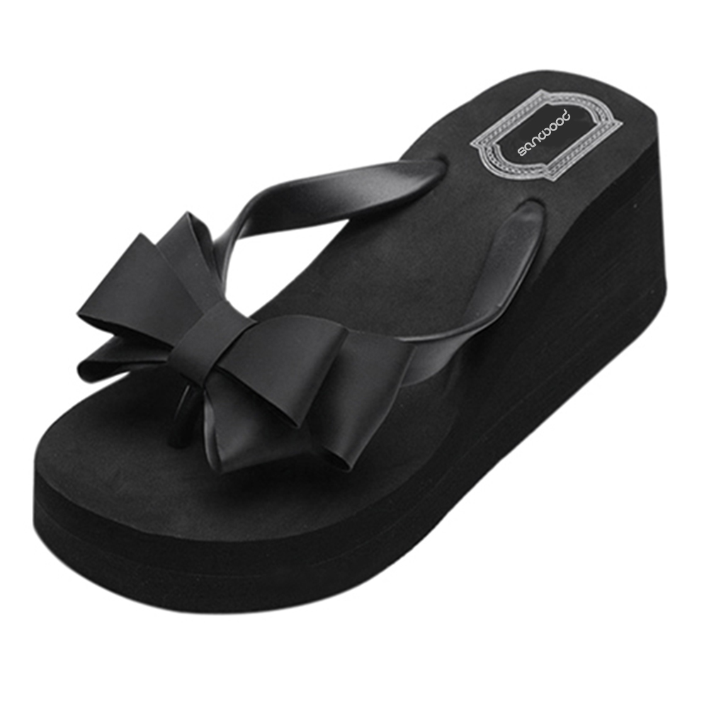 Big Sale┌Slippers Shoes Sandals Platform Flip-Flops Mid-Heel Beach Fashion Women Bowknot New-Arrival
