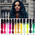 24inch Ombre Two Tone Crochet Braids Hair Extension 1-10Pcs Synthetic Braiding Hair 100g Each Package For Doing Box Braids Hair