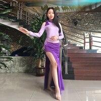 Sexy D'une Seule Pièce de Dame Longue Robe Danseuse Du Ventre Pratique Modal Costume à Manches longues Vêtements Rouge violet Livraison Gratuite