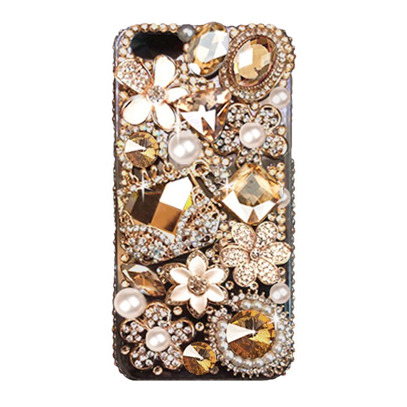 Women s Golden Rhinestone phone case for Apple iPhone 6 6s case Handmade  Fashion Pearl Diamond phone cover 7098117155