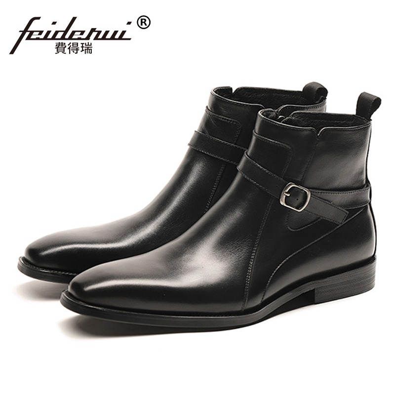 New Arrival Designer Man Handmade High-Top Shoes Italian Genuine Leather Men's Pointed Toe Cowboy Riding Ankle Boots SS332