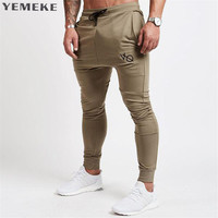 YEMEKE 2017 Autumn Winter New Gyms Pants Men Joggers Casual Pants Brand Trousers Sporting Bodybuilding Sweatpants