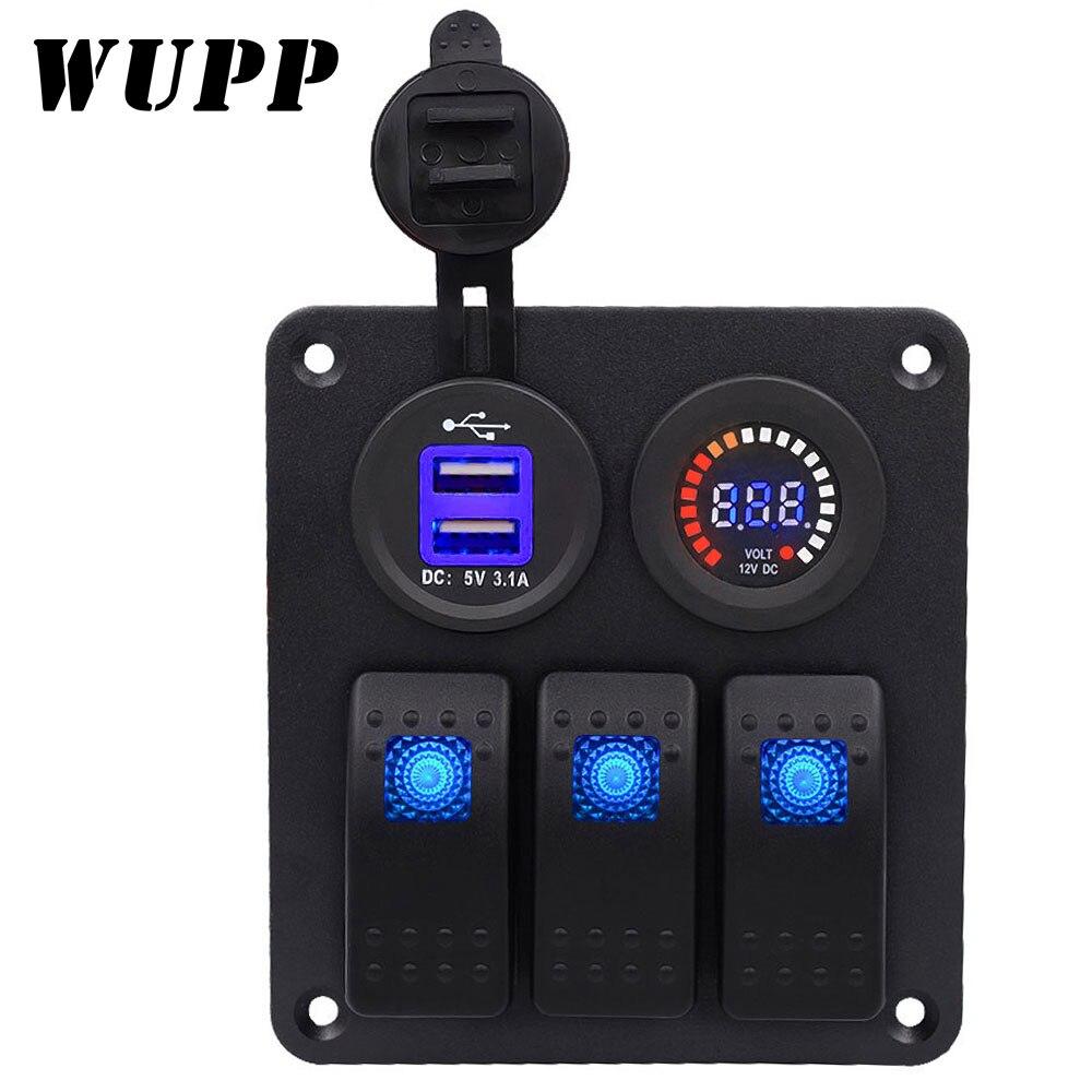 Chargeur de voiture WUPP DC12/24 V noyau blanc double USB 3PN lumière unique commutateur 3 bits double USB panneau de combinaison de compteur de tension