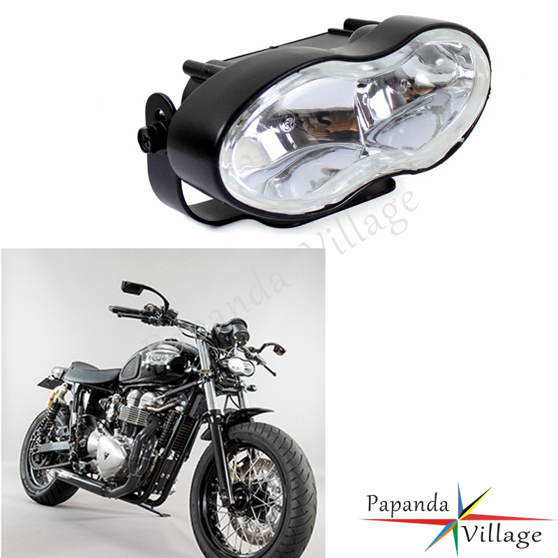 Papanda Motorcycle H3 Bulbs Retro Twin Wave Oval Headlight Custom Universal For Harley Bobber Streetfighter Cafe Racer