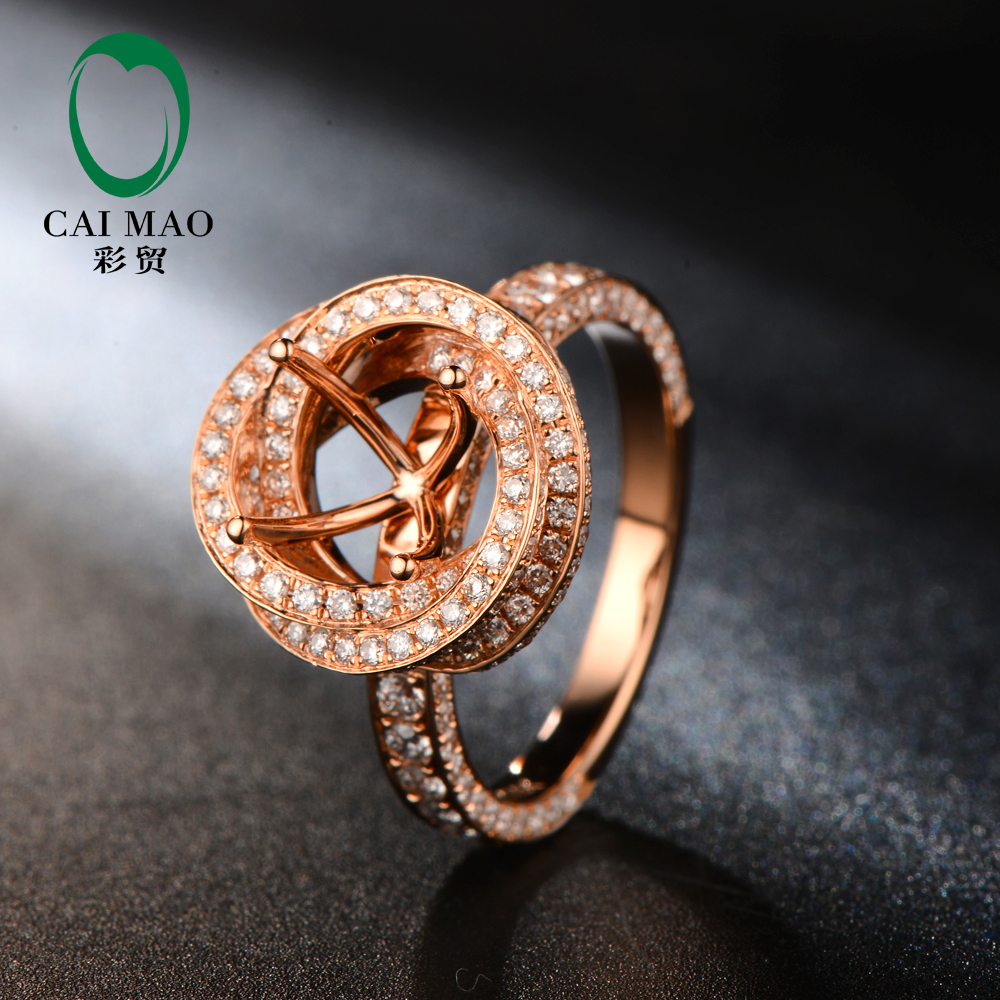 Free shipping 7mm Round Cut 18kt Rose Gold Natural Diamond Semi Mount Ring Jewelry for Engagement заслуженный коллектив россии академический симфонический оркестр филармонии э инбал