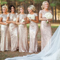 Fashion Sequined Scoop Neck Bridesmaid Dresses Short Sleeve Mermaid Wedding Guest Dress Formal Party Gowns BD192